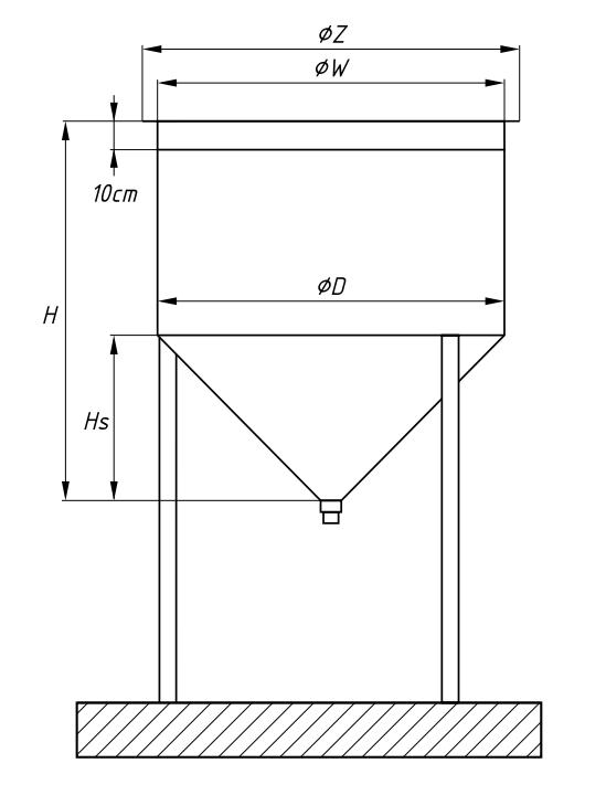 Схема круглого бассейна с коническим дном